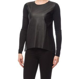 NWT Black Vegan Leather Knit Top Sweater